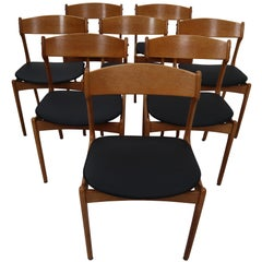 Eight Chairs Designed by Erik Buck, Black Leather and Oak by O.D. Mobler