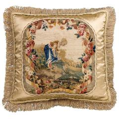 Cushion: Mid 18th Century, Silk and Wool. The Lady Gardener