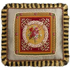 Cushion: 18th Century, Wool And Silk. Flowers on a Gold Background
