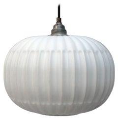 White Czech Opale Glass Round Pendant Light