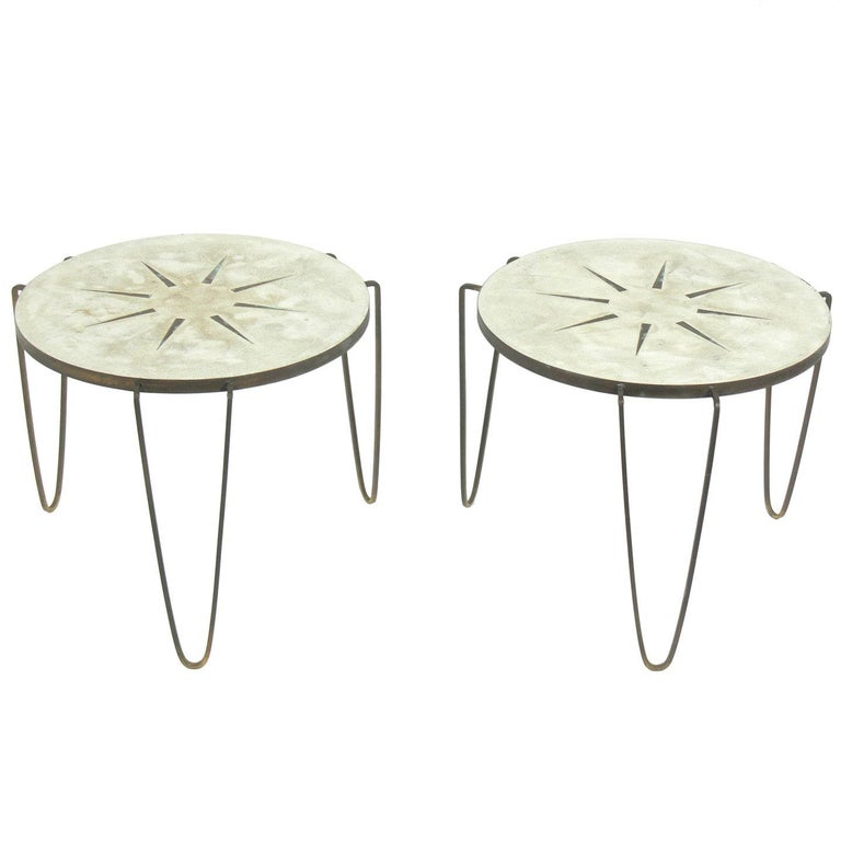 Pair of Inlaid Brass and Cement Tripod Tables by Jack Schaeffer
