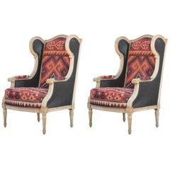 Pair of French Bergère Two-Toned Cane and Kilim Rug Wingback Lounge Chairs