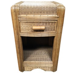 Streamline Stick Rattan Side Table with Grass Mat Coverings