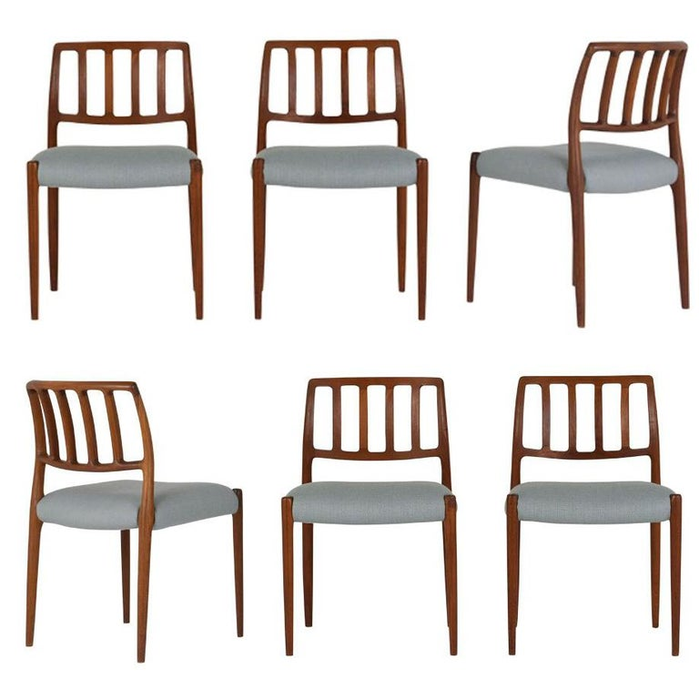Set of Six Mid-Century Modern Niels Otto Moller Dining Room Chairs For Sale