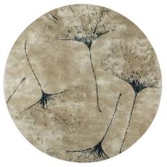 Brabbu Macushi Circular Tufted Tencel Rug II in Sand with Tree Pattern