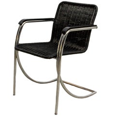 Rare Black Stained Pit Cane Wicker Chair with Chrome-Plated Frame, 1970s