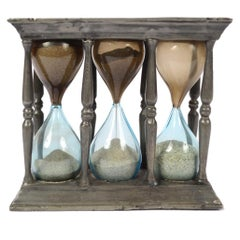 Hourglass Made of Pewter Brass and Blown Glass, Early 1900