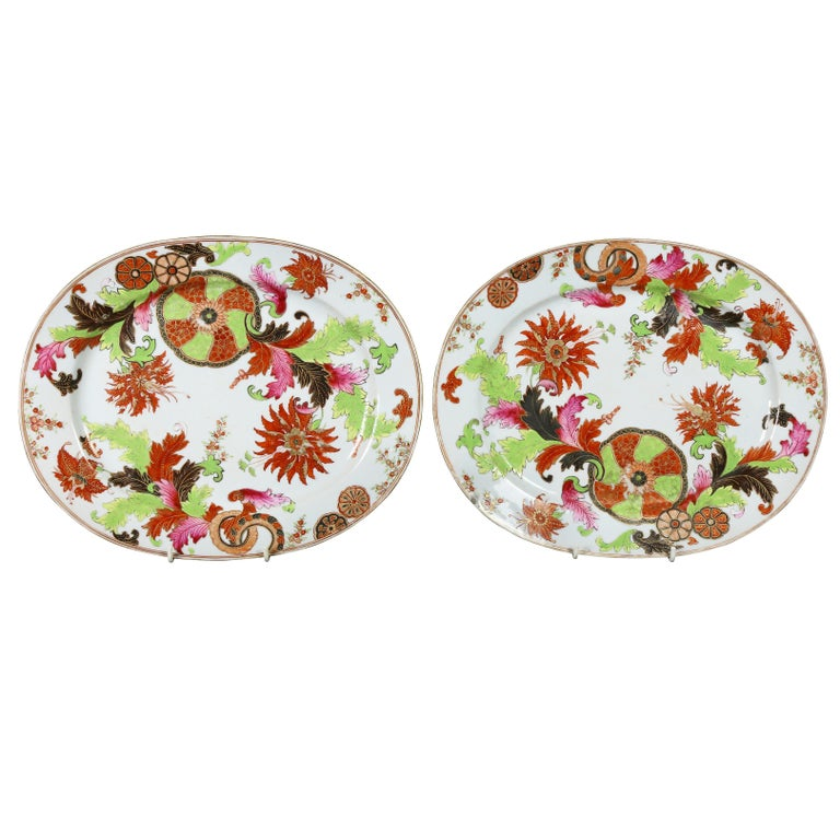 Pair of Chinese Export Porcelain Tobacco Leaf Platters