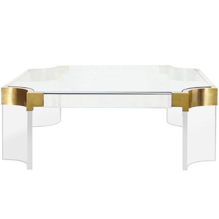 "Brass and Lucite ""Waterfall Line"" Coffee Table by Charles Hollis Jones"