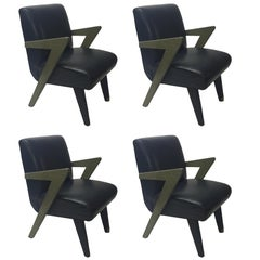 Set of Four Leather & Oak Armchairs in the Style of Paul Laszlo, NYC 1980s