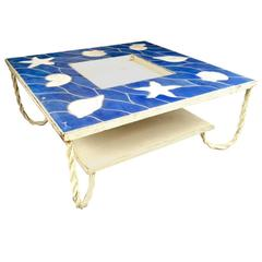 French Riviera Two-Tier Spectacular Blue Lagoon Ceramic Coffee Table