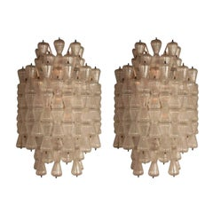 Magnificent Pair of Large Barovier & Toso Glass Sconces, circa 1970