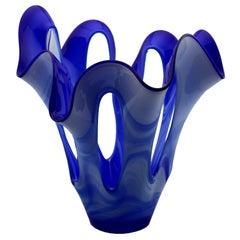 Large Midcentury Sculptural Glass Vase