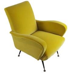 Zanuso's Style Yellow Velvet Italian Mid-Century Modern Armchair, 1950s