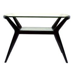 Cesare Lacca Ebonized Wood Italian Coffee Table with Glass Top, 1950
