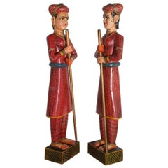 Life-Sized Pair of Indian Figures in Painted Wood