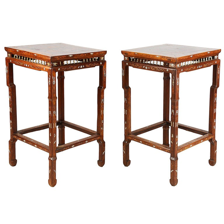 Pair of Chinese Hardwood Inlaid Side Tables, 19th Century