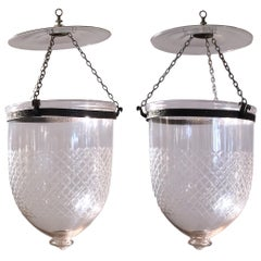 Pair of Handblown Glass Bell Jar Lanterns with Diamond Etching