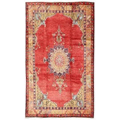 Colorful Vintage Turkish Oushak Rug with Red, Brown and Gold Colors