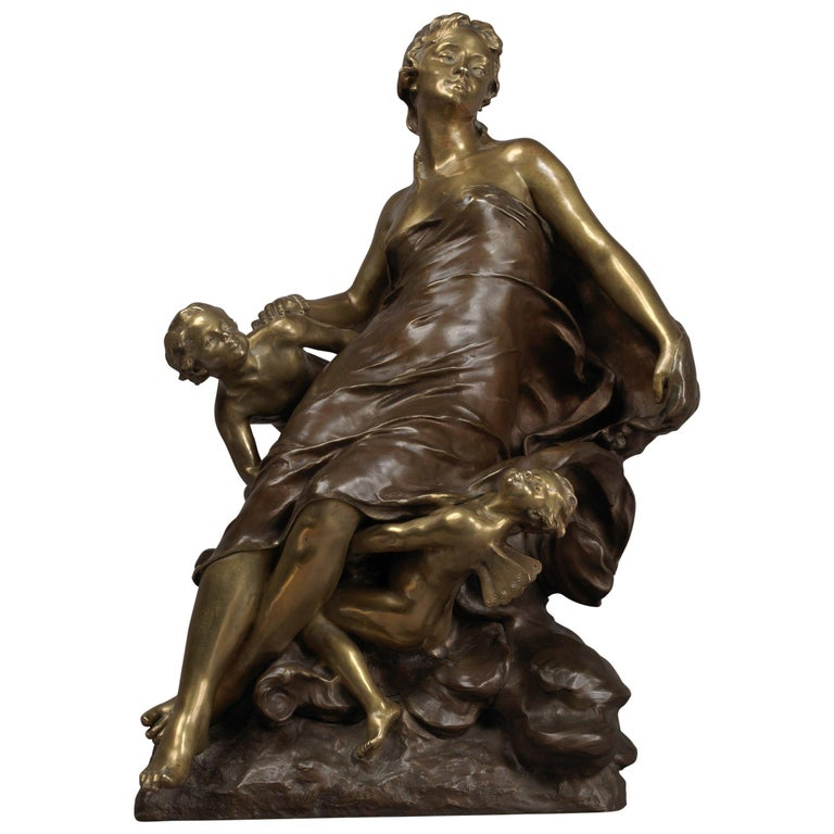 'Cupid and Psyche', Bronze Sculpture by François-Raoul Larche, Dated 1891
