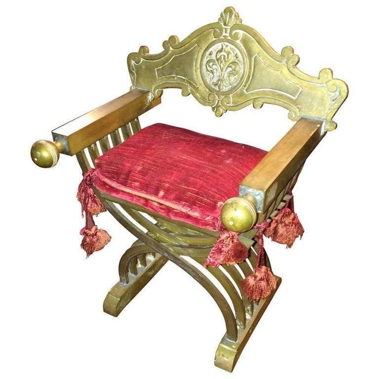 Grand Tour Miniature Bronze Savonarola Chair For Sale