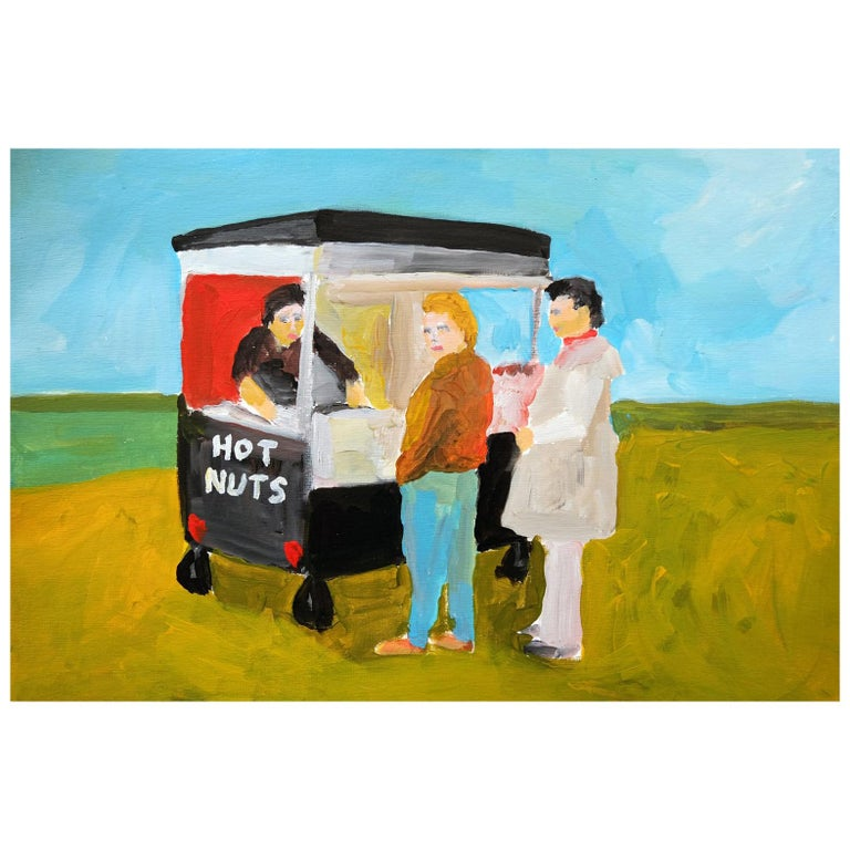 'Fresh Hot Nuts' Painting by Alan Fears Acrylic on Paper British Life For Sale