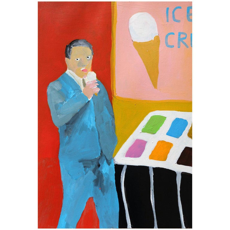 'Sloppy Seconds' Portrait Painting by Alan Fears Acrylic on Paper Ice Cream For Sale