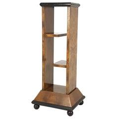 Italian Walnut Briar Root 1930s Pedestal with Shelves Attributed to Domus Nova
