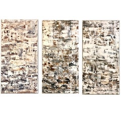 "Leila Pinto, ""Triptych Taupe Abstract"" Acrylic On Canvas"