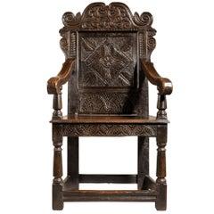 Charles II Yorkshire Carved Oak Wainscot Armchair