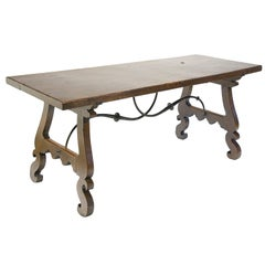 18th Century Baroque Walnut and Wrought Iron Spanish Table