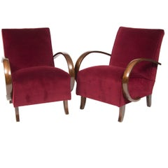 Pair of Czech 1930s Art Deco Reupholstered Armchairs by Jindrich Halabala