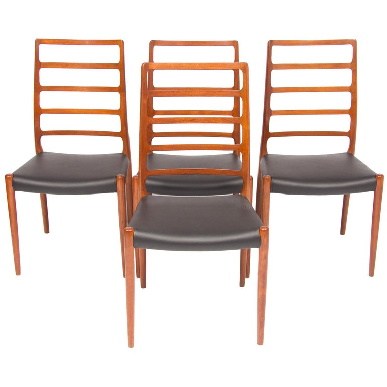 Set of Four Neils O.Moller Model 82 Teak Ladder Back Dining Chairs For Sale