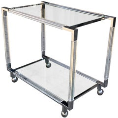 Vintage Chrome and Lucite Bar Cart by Charles Hollis Jones, Metric Collection