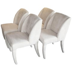 1980s Luxe Modern Ultrasuede Dining Chairs by Directional