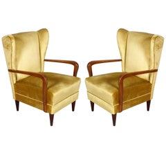 Pair Gio Ponti 1930s Italian High Back Armchairs, Original Gold Yellow Velvet