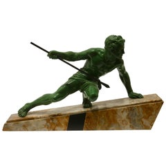 """Art Deco Large Sculpture """"The Hunter"""" Signed """"Uriano"""" on Marble Base"""