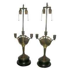 Art Nouveau Candlestick Table Lamps