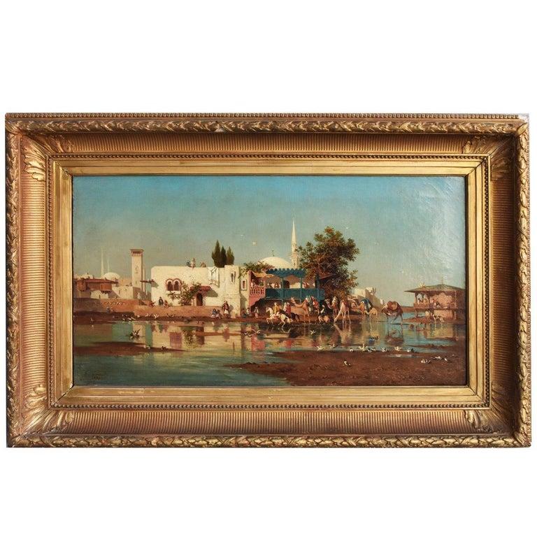 """The Bosphorus"" Oil on Canvas Orientalist by G. Garaud"