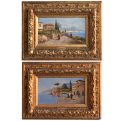 Pair of Italian Landscape Oil on Canvas Signed Pietro Toretti