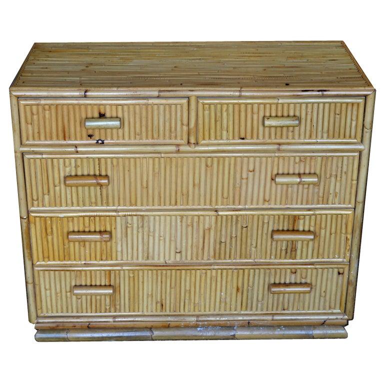 Mid-Century Modern Bamboo Dresser / Chest of Drawers
