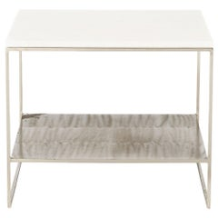 Midcentury Vintage Belgian Steel and White Marble End Table