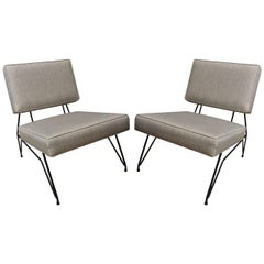 Pair of Italian Design Iron Base Upholstered Modernist Chairs