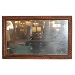 Carved Mahogany Distressed Mirror