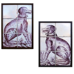 Pair of Delft Dog Tiles