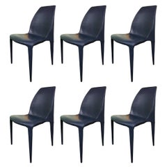 Set of 6 Dark Blue Leather Chairs by Cattelan Italia