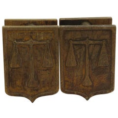 1970s Pair of Wooden Belgium Double Door Pulls Featuring the Scales of Justice