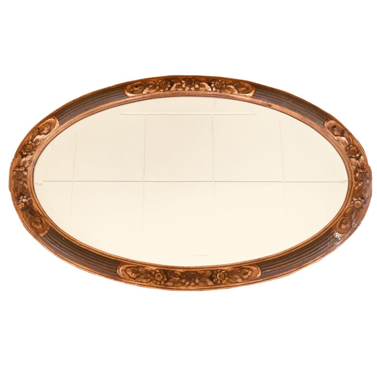 Louis SÜE and André MARE French Art Deco Large Oval Gilt Crystal Mirror