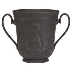 Antique Black Basalt Captain Cook Commemorative Loving Cup, circa 1879