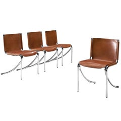 Giotto Stoppino 'Jot' Cognac Leather Tubular Chairs
